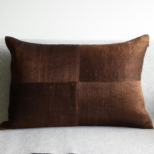 Raw Silk 4 Panel - large - rectangular - cushion - chocolate