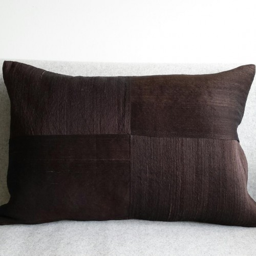 Raw Silk 4 Panel - large - rectangular - cushion - dark chocolate