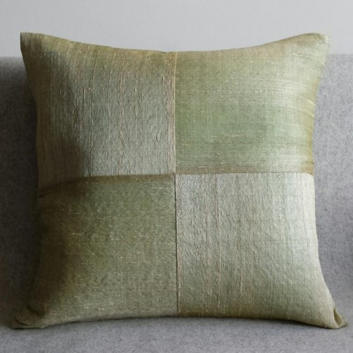 Raw Silk 4 Panel - square - cushion - willow
