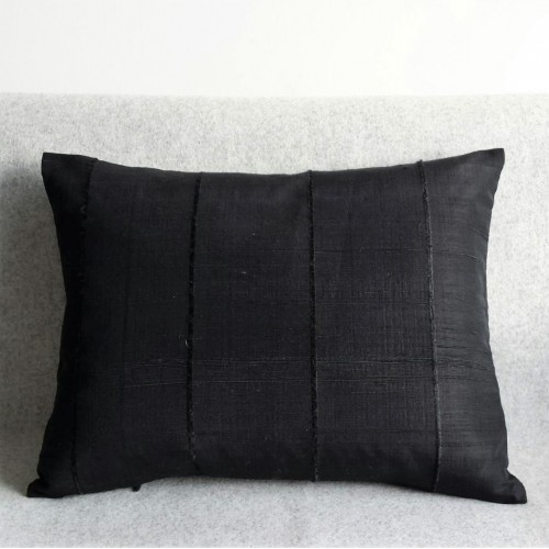 Ribbed cushion - rectangular - black