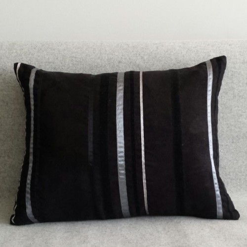 Ribbon Stripes - rectangular - cushion - black