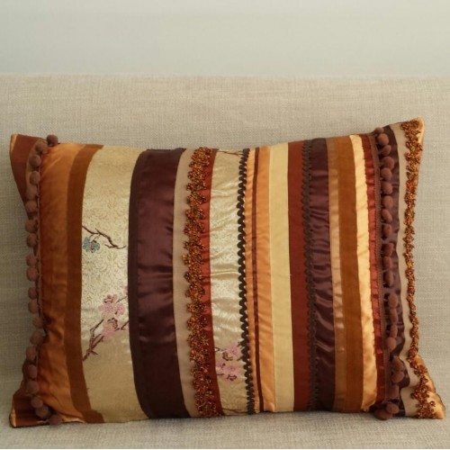 Sampler Stripes cushion - rectangular- gold