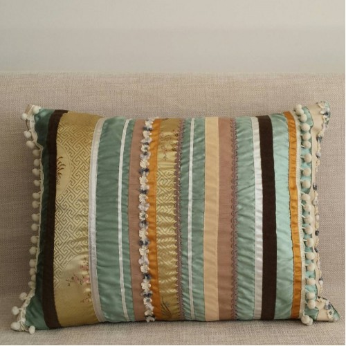 Sampler Stripes cushion - rectangular- mint