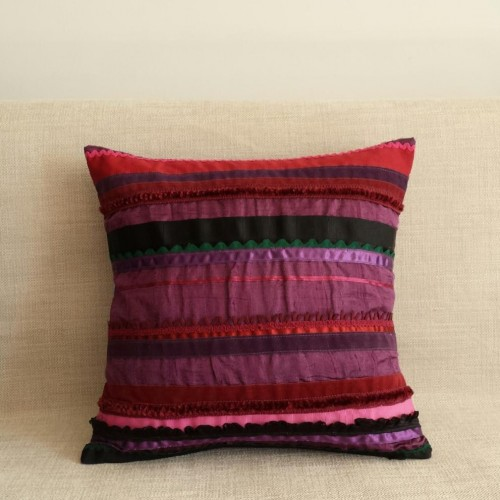 Sampler Stripes cushion - small square - purple