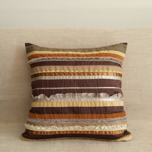 Sampler Stripes cushion - small square - coffee