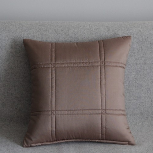 Stitched Grid cushion - small square - coffee