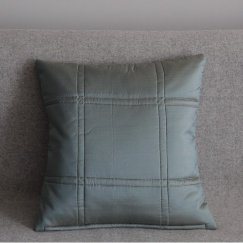Stitched Grid cushion - small square - mint