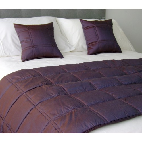 Stitched Grid - Bed Runner - Aubergine