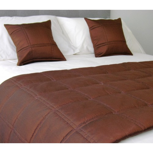 Stitched Grid - Bed Runner - Chocolate