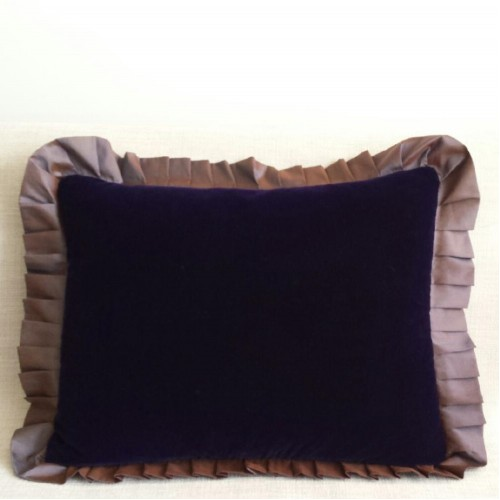 Velvet & silk Frill - rectangular - cushion - royal blue