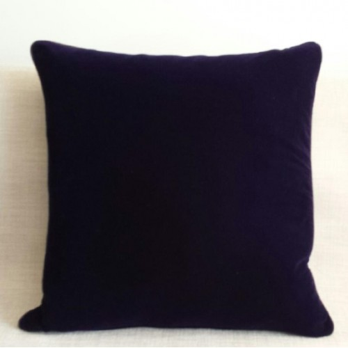 Velvet & silk - square- cushion - royal blue