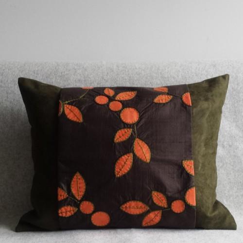 Faux Suede & Wrap - rectangular - olive/brown/orange