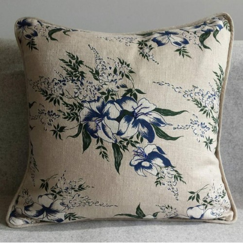 Lily Print - cushion - square - navy