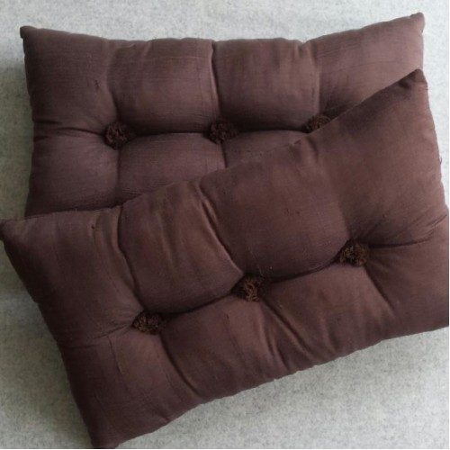 Tufted Cushion - rectangular - Chocolate x2 SAVE over 20%