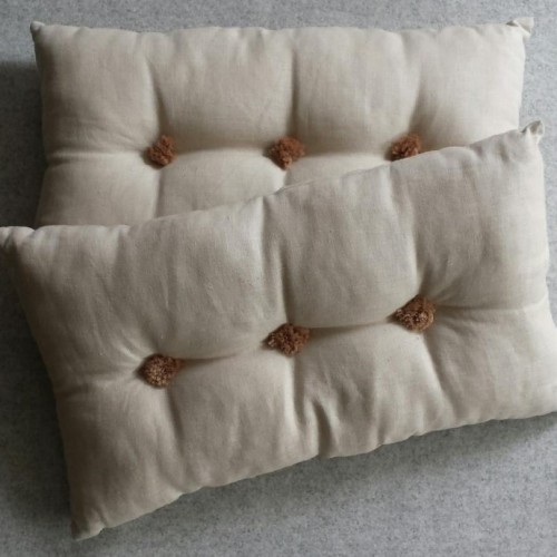 Tufted Cushion - rectangular - Linen x2 SAVE over 20%
